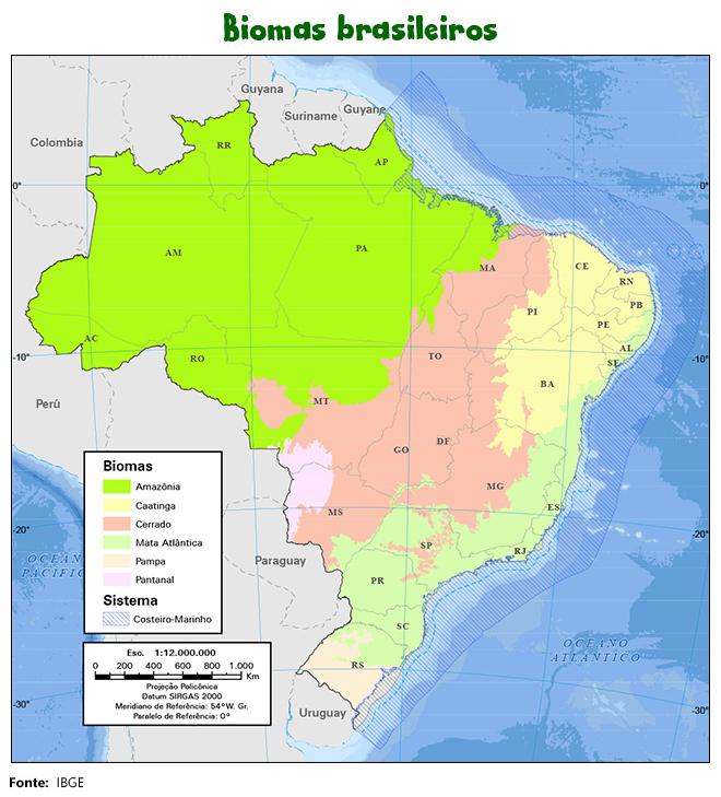 mapa biomas brasil - Projeto de Lei dos Biomas (PL 2844/2021) normas adequadas a todos os seis ecossistemas, impedindo ações que comprometam o meio ambiente.